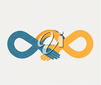Royalty Free Clipart Image of an Infinity Handshake Concept