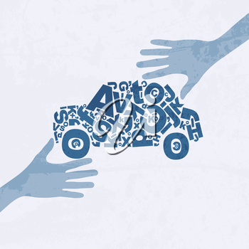 Abstract creative design with old car. Transferring a car from hand to hand