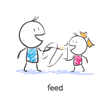 Feed. Dad and daughter