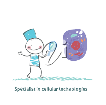 Specialist in cellular technologies is looking through a magnifying glass on a cell