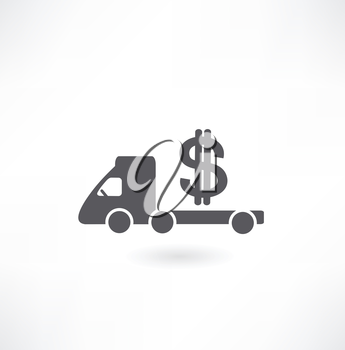 3d illustration of truck full of money over wmachine carries Dollar iconhite background