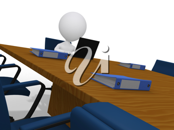 Royalty Free Clipart Image of a Figure Waiting in a Boardroom