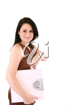 woman with scales on a white background. Concept of healthy lifestyle.