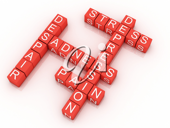 Royalty Free Clipart Image of Depression Outlined in a Scrabble Design