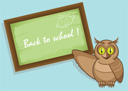 Royalty Free Clipart Image of an Owl With a Chalkboard