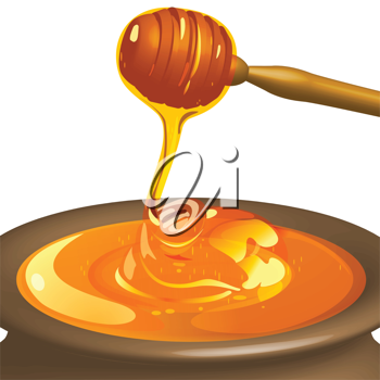 Royalty Free Clipart Image of a Pot of Honey