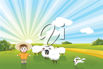 Royalty Free Clipart Image of a Field of Sheep and a Dog