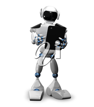 3d illustration of a robot with tablet
