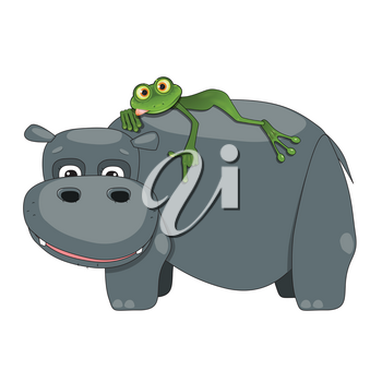 Illustration of a Green Frog on a Hippo on a White Background