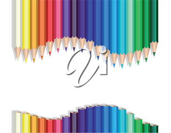 Royalty Free Clipart Image of Coloured Pencils in a Wave