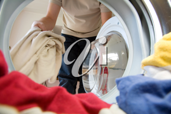 Preparation for washing, viewed from inside the washer