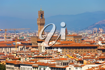 Royalty Free Photo of Florence Cityscape with Palazzo Vecchio From Piazzale Michelangelo, Italy