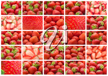 Collection of sweet strawberries making nice background