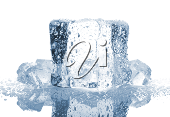 Royalty Free Photo of an Ice Cube with Water Drops
