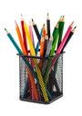 Various color pencils in black metal container isolated on white background