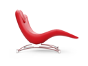 Royalty Free Clipart Image of a Red Chaise Lounge