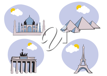 Royalty Free Clipart Image of Historical Icons Around the World