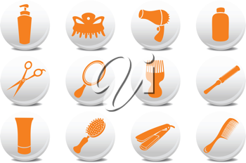 Royalty Free Clipart Image of Hairdressing Icons