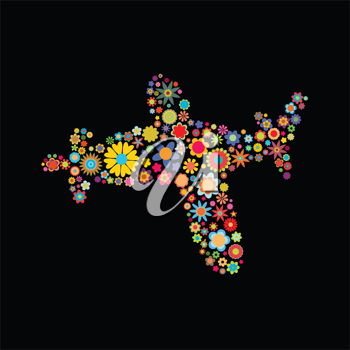 Royalty Free Clipart Image of a Floral Airplane