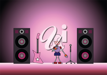 Royalty Free Clipart Image of a Robot Girl Performing