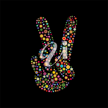 Royalty Free Clipart Image of a Floral Peace Sign