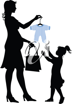 Royalty Free Clipart Image of a Pregnant Mother and Daughter Shopping