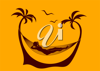 Royalty Free Clipart Image of a Woman in a Hammock