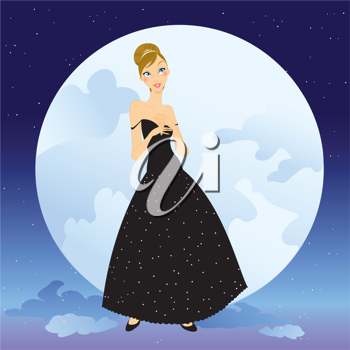 Royalty Free Clipart Image of a Woman by the Moon