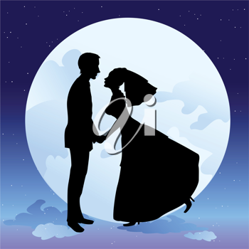 Royalty Free Clipart Image of a Couple at Night