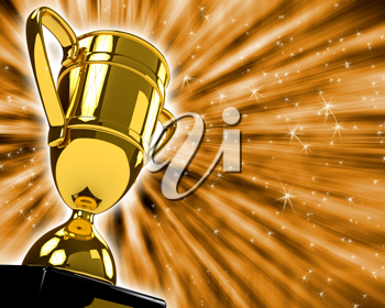 Royalty Free Clipart Image of a Gold Trophy
