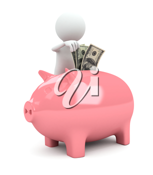 3d person with piggy bank on white background. computer generated image