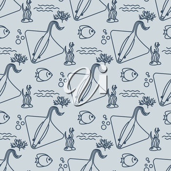 Seamless pattern with stingrays and fishs. Vector