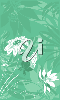 Royalty Free Clipart Image of a Green Vertical Background With Flowers in the Corner