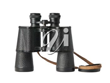 Black old military binoculars isolated on white