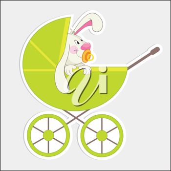 Royalty Free Clipart Image of a Rabbit in a Buggy