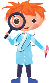 Cartoon scientist and magnifying glass.