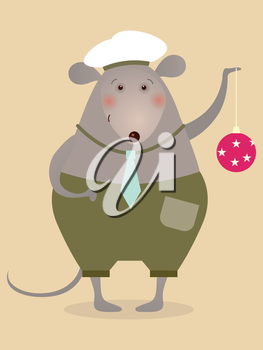 Mouse sailor with boll - illustration for greeting card