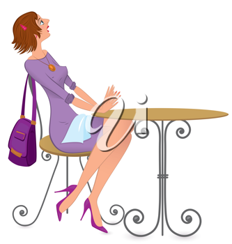 Royalty Free Clipart Image of a Woman Sitting at a Table