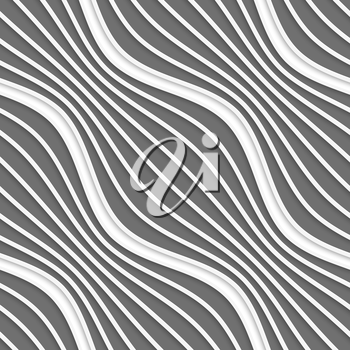 Seamless geometric background. Modern monochrome 3D texture. Pattern with realistic shadow and cut out of paper effect.3D diagonal striped waves.