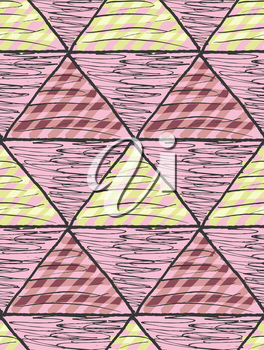 Inked triangles scribbled.Hand drawn with ink and marker brush seamless background.Six color pallet collection.