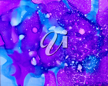 Abstract paint blue purple merging flow textured.Colorful background hand drawn with bright inks and watercolor paints. Color splashes and splatters create uneven artistic modern design.