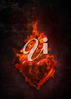 Royalty Free Clipart Image of a Fiery Heart