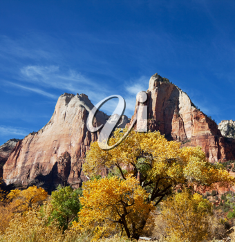 Royalty Free Photo of Mountains in Zion National Park in Autumn