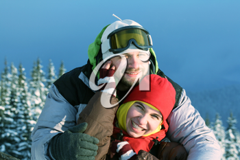 Royalty Free Photo of a Couple in Wintertime
