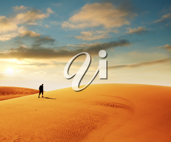 Royalty Free Photo of a Hike in the Gobi Desert