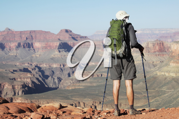 Royalty Free Photo of a Hiker in the Grand Canyon