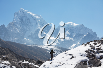 Royalty Free Photo of a Climber in the Himalayan Mountains