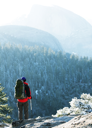 Royalty Free Photo of a Hiker in the Mountains