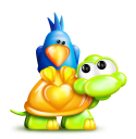 Royalty Free Clipart Image of a Turtle With a Bluebird on Its Back