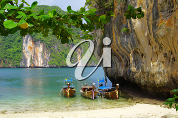 Royalty Free Photo of Boats on the Islands in Andaman Sea, Thailand